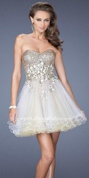 Sequin Detailed Layered Tulle Short Prom Dresses by La Femme-image