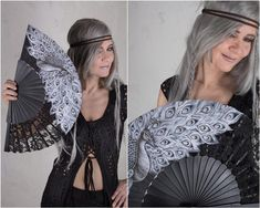 Handpainted Peacock Hand Fan and Goth Wedding Gift hand fans image 0 Steampunk Coat, Steampunk Skirt, Steampunk Clothing, Festival Wear, Festival Outfits, Festival Fashion, Jedi Outfit, Fan Image, Cyberpunk Clothes