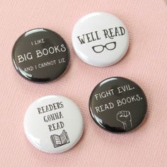 Bookish Button Badges