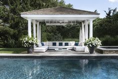 Water Mill House Poolside | Weekend vibes in this Hamptons peaceful, poolside cabana. Pool Gazebo, Diy Gazebo, Garden Gazebo, Backyard Pergola, Gazebo Ideas, Pergola Kits, Pergola Canopy, Patio Roof, Pergola Cover