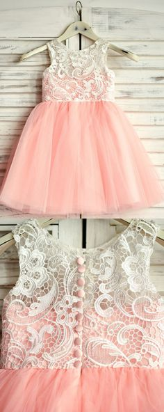 A-Line Round Neck Pink Tulle Flower Girl Dress with Lace, Shop plus-sized prom dresses for curvy figures and plus-size party dresses. Ball gowns for prom in plus sizes and short plus-sized prom dresses for Frocks For Girls, Kids Frocks, Little Girl Dresses, Girls Dresses, Prom Dresses, Popular Dresses, Trendy Dresses, Elegant Dresses, Nice Dresses