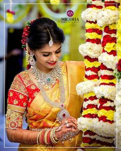 75 Amusing Blouse Ideas That Made A Mark This 2017 - Part 2 Shopzters Bridal Portrait Poses, Bridal Poses, Telugu Wedding, Saree Wedding, Bridal Sarees, Wedding Wows, Wedding Photos, Indian Wedding Outfits, Bridal Outfits