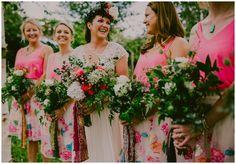 Neon pink bridesmaids contrast well with indian silks for an eclectic boho festival wedding vibe. #weddingideas #boho #inspiration #weddingreception #festivalwedding #hippy Images copyright Lucabella. www.lucabella.co.uk