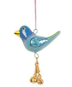 Hanging bird with bells blue