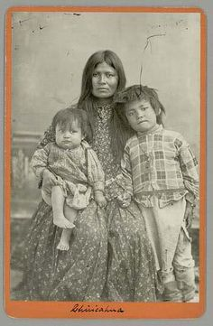Chihuahua's third wife, Ilth-Gozey (or Ilth-Gazie) and her two children, Eugene and Ramona Chihuahua, 1886.