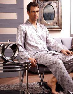 Fashion mens silk pajamas s1329 brown