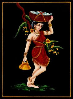 Fisher Woman - Nirmal Painting on Wood (Nirmal Paintings od) Woman Drawing, Rajasthani Painting, Female Art Painting, Kerala Mural Painting, African Art Paintings, Folk Art Painting, Indian Art Gallery, Mughal Paintings, Painting Of Girl