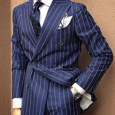 Pinstripe suits are becoming a trendsetter these days. They are not only best suitable for formal office meetings but look equally ravishing in wedding par Double Breasted Pinstripe Suit, Suit Combinations, Herren Style, Mens Fashion Suits, Dress Suits, Men's Suits, Suit And Tie, Well Dressed Men, Gentleman Style