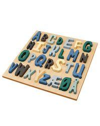 Holz-Steckpuzzle ABC 30-teilig in blau/bunt