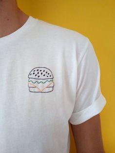 Self embroidered T shirt Big Mac organic Diy Embroidery Bags, Embroidery On Clothes, Simple Embroidery, Shirt Embroidery, Hand Embroidery Patterns, Cross Stitch Embroidery, Sewing Clothes, Diy Clothes, Mali Mali