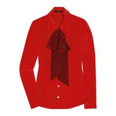 编辑推荐 50款早秋最in复古衬衫 - 风格霓裳 - 奢美时装 - 奢华   ELLE中国   ELLE China ❤ liked on Polyvore featuring tops, blouses, red blouse and red top