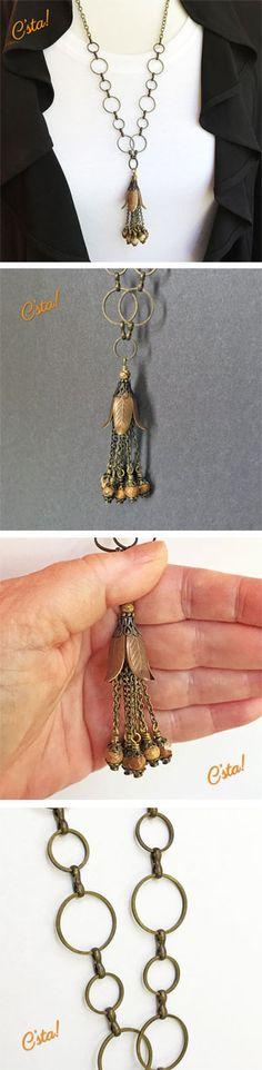 Antiqued Brass Flower Tassel Necklace with Picture Jasper Gemstones by C'sta!
