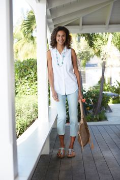 Sleeveless cotton-stretch shirt and the authentic fit cropped jeans (in surf wash).