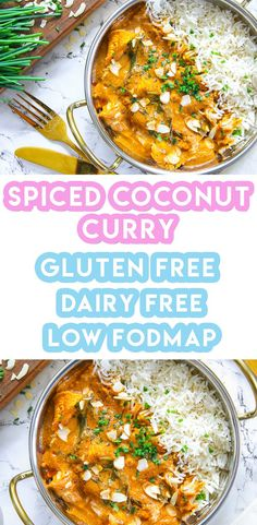 My Gluten Free Spiced Coconut Chicken Curry Recipe (low FODMAP + dairy free) Here's my gluten free spiced coconut chicken curry recipe - the perfect warming, lightly spiced and creamy dish! It's low FODMAP and dairy free too. Fodmap Recipes, Healthy Recipes, Gluten Free Recipes Curry, Low Fodmap Chicken Recipe, Chicken Recipes Diet, Chicken Recipes Dairy Free, Gluten Free Meal Plan, Recipe Chicken, Keto Recipes