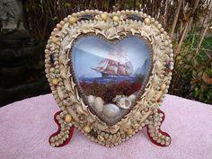 RARE 1800s Sailors Valentine Victorian Shell Art Bubble Glass Heart Shape Frame | eBay