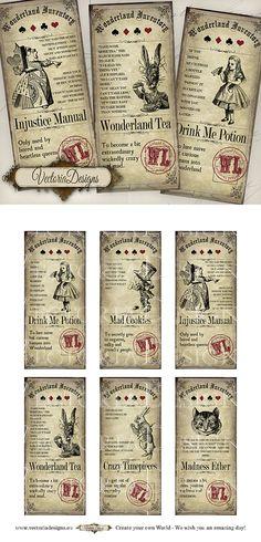 Alice in Wonderland Inventory Labels printable by VectoriaDesigns, $3.95