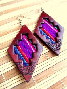 Statement Tribal Leather Earrings Woven by BohemianHooksJewelry, $13.50