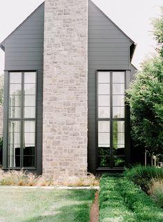 Nashville Landscape Architecture by Daigh Rick Landscape Architect. Photo by Leslee Mitchell. Stone Exterior Houses, Black House Exterior, Exterior House Colors, Stone Houses, Exterior Design, House Exteriors, Residential Architecture, Landscape Architecture, Nashville