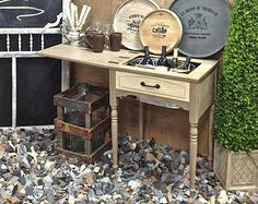 Vintage Repurposed Folding Bar Serv Ing Table In A Chic Cottage Gray .