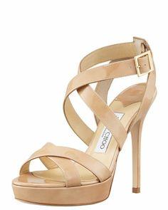 Vamp Crisscross Platform Sandal, Nude by Jimmy Choo at Bergdorf Goodman.