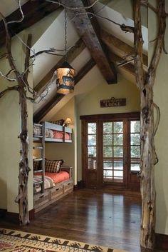 Rustic bunk beds. Cool bedroom for kids.