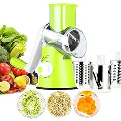 Professional Mandoline Slicer,Vegetable Cheese Cutter,Slicer Shredder Grinder Vegetable Spiralizer with 3 Interchanging Ultra Sharp Cylinders Stainless Steel Drums,Yimai Spiral Vegetable Slicer, Vegetable Spiralizer, Vegetable Salads, Tea Coffee Sugar Canisters, Salad Maker, Stainless Steel Drum, Vegetable Chopper, Mandolin Slicer, Kitchen