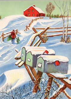 Old Christmas card - snow winter - mailboxes - barn and fence - Christmas tree