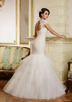 Maya 2015 Royal Wedding Dress Collection>>>>Lace Mermaid Gown With Lace Capped Sleeves & Layered Tulle Skirt~~ 2015 Wedding Dresses, Wedding Dress Styles, Wedding Gowns, Prom Dresses, Mod Wedding, Wedding Ideas, Wedding Trends, Wedding Bells, Wedding Inspiration