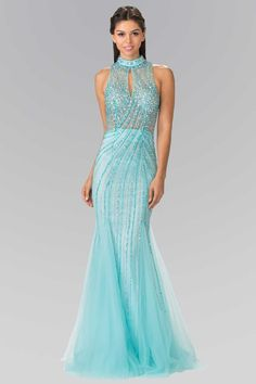 Look radiant in this long halter dress with beaded illusion top by Elizabeth  K. Fabric  Jersey fe09c6d1c