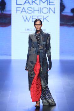 Look 15 Bhikara Patchwork Long jacket with shibori scarf and Khadi Skirt