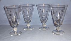 Vintage Nancy Prentiss Crystal Iced Tea Glasses - Set of 4 - Lady Hilton Pattern