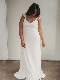 Ruffled Wedding Dress | Minimal Wedding Dress | DAIA GOWN – Davie & Chiyo Crepe Wedding Dress, Wedding Dresses, Minimal Wedding Dress, Grey Ribbon, Fitted Skirt, Stretch Satin, Bridal Gowns, Perfect Fit, Bridesmaid Dresses