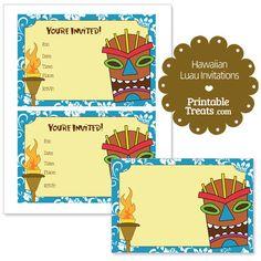 Printable Blue Hawaiian Luau Invitations from PrintableTreats.com