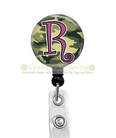 Initial Retractable ID Badge Holder, Camo Initial, Retractable Badge Reel, Carabiner, Lanyard or Stethoscope ID Tag by CreativeSanity on Etsy