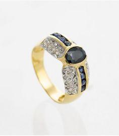 Sortija Oro Amarillo Zafiros y Diamantes sobre Oro Blanco