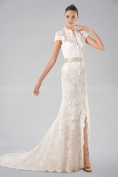 Best Luxurious Short Sleeve Wedding Dress with Lace Overlay and Delicate Split front Wedding Dresses