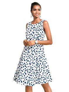 892987aa64cc Damen Alba Moda Kleid im femininen Punkte-Dessin weiß   04055716485562 -  Kategorie  Damen