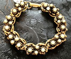 Vintage Antiqued 1950's Gold Plated and Faux Seed Pearl CHUNKY Link Bracelet #1950s #Statement