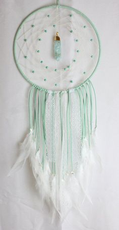 Mint Light Green Dream Catcher with Beads, a Glass & Gold Pendant, White Lace & White Feathers Los Dreamcatchers, Color Menta, Diy And Crafts, Arts And Crafts, Creation Deco, Dreams Catcher, String Art, Gold Pendant, Pendant Necklace