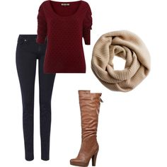 cozy weekend away - burgundy sweater with skinnies, boots, and a cowl