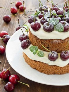 Gingerbread Cake with Sour Cream Frosting and Cherries