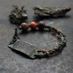 Good luck runic bracelet rustic amulet bracelet pagan by solekoru