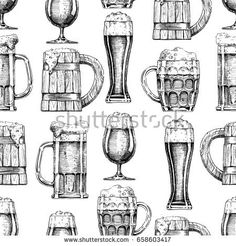 seamless pattern with different beer glasses and mugs. illustration background in ink hand drawn style.