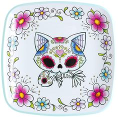 SUGAR SKULL CAT PLATE Oh it doesn't get any kuter & kitschier than this! This white melamine plate trimmed in aqua blue features a day of the dead sugar kitty cat in the center surrounded by bright, brilliant flowers. Purr-fect addition to your kitschy kitchen! $8.00