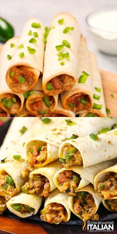 Jalapeno Popper Cheesy Taquitos are the consummate Game Day food An easy recipe that will knock your socks off, with instructions to makeahead too Loaded with your favorite popper flavors jalapenos, bacon and ooey gooey cheese Adding perfectly sea - p Jalapeno Poppers, Jalapeno Popper Recipes, Taquitos Recipe, Chicken Taquitos, Game Day Food, Mexican Food Recipes, Chinese Recipes, Healthy Mexican Food, Taco Bell Recipes