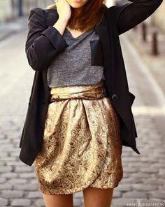 love the gold metalic skirt