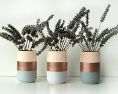 Wooden Vases  Set of 3  for flowers and more  Home by ShadeonShape