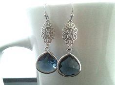 Oriental Montana Silver Drop Earrings, Dangle earrings, Gemstone, wedding Earrings -Sapphire Blue