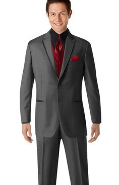 Men's Dark Grey Suit Dark Red Shirt Silver Striped Tie Black