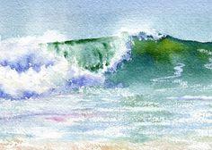 Luz se vierte a través de los rizos de esta onda como ventisca sopla desde la cresta de última hora.  Esta lámina Giclée está impreso sobre papel Arches acuarela de Hotpress con tintas archivales.